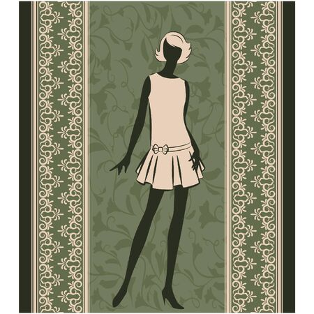 Vintage silhouette of girl on tapestry background. Vector Vector