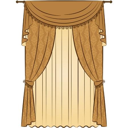 ビンテージのカーテン。  イラスト・ベクター素材
