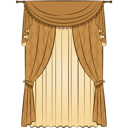 The vintage curtain. Illustration