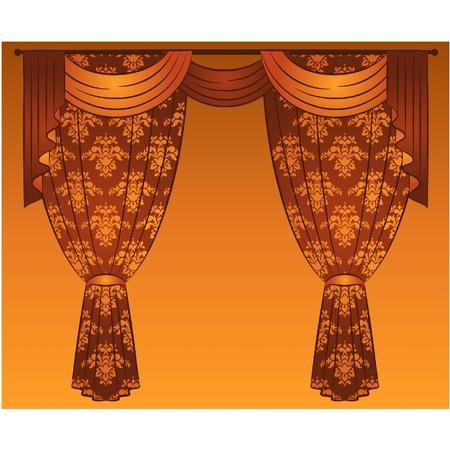 The vintage curtain. Illustration