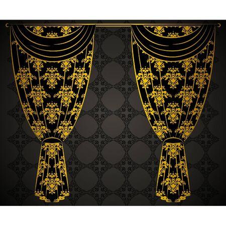 The vintage curtain. Vector