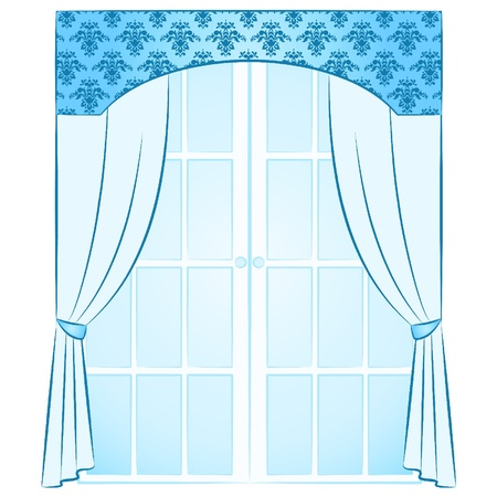 The vintage inter with curtain. Stock Vector - 10729619