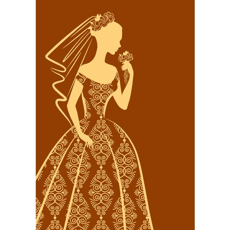 veil: Vintage silhouette of beautiful bride in dress. Illustration