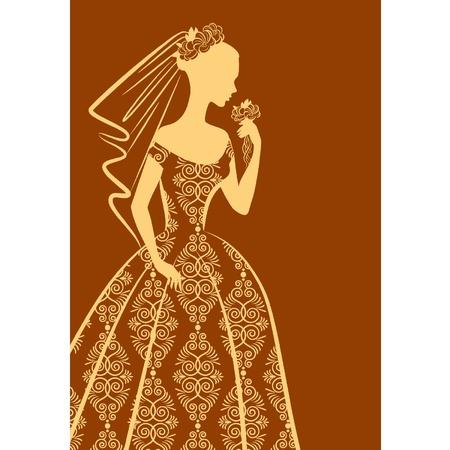 Vintage silueta krásná nevěsta v šatech.