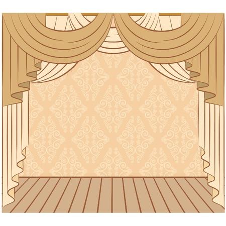 El interior vintage con cortina.