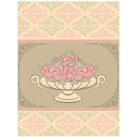 The vintage vase with flowers on tapestry background. Vector