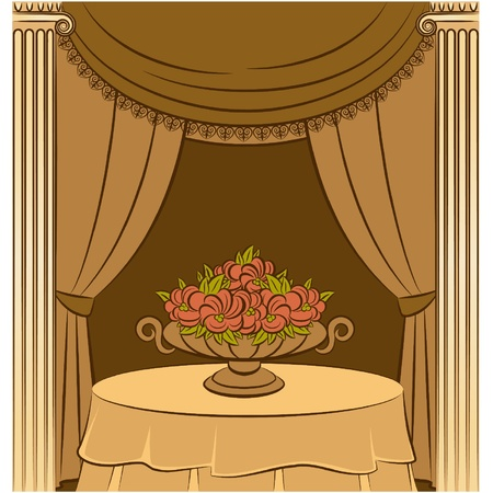 The vintage curtain Vector