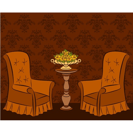 illustration arm-chair in vintage interior Stock Vector - 10729634