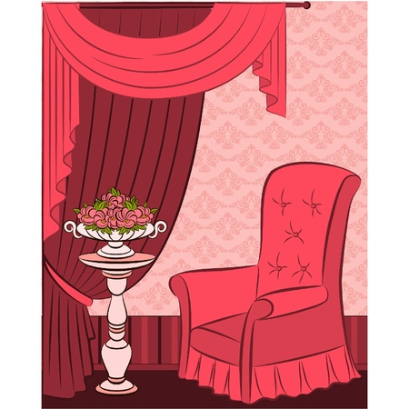 illustration arm-chair in vintage interior