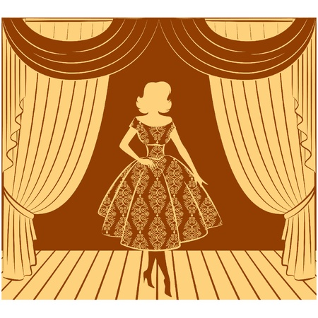 Vintage curtain with silhouette of girls. Vector