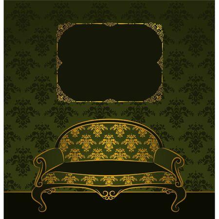 illustration sofa in vintage interior Vector