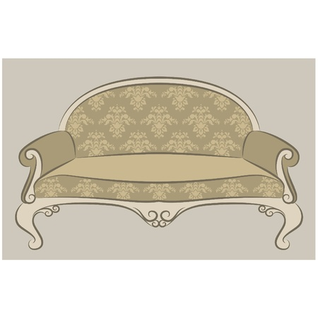 illustration sofa in vintage interior Stock Vector - 10729625
