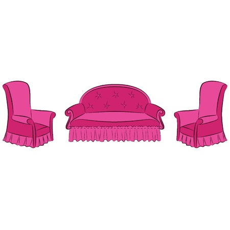 Vector illustration sofa and arm-chair for vintage interior Vector