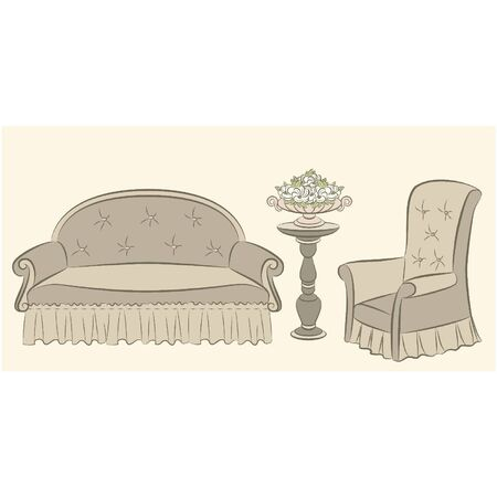 illustration sofa and arm-chair for vintage interior Stock Vector - 10729603