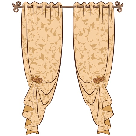 curtains: The vintage interior with curtain.