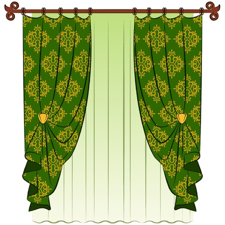 The vintage interior with curtain.
