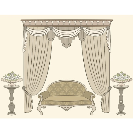illustration sofa in vintage interior Vector