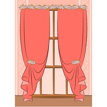 The vintage inter with curtain. Stock Vector - 10719361