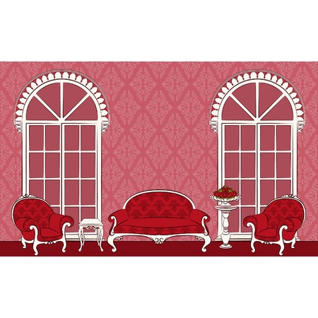 The vintage interior with furniture. Vector Vector
