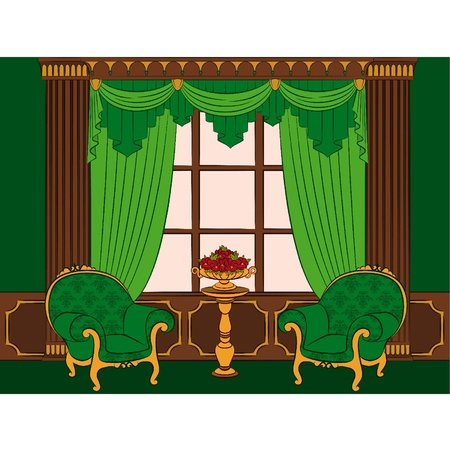 The vintage interior with curtain and furniture. Vector