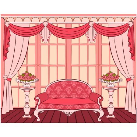 illustration sofa in vintage interior