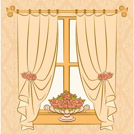 The vintage interior with curtain. Stock Vector - 10719245