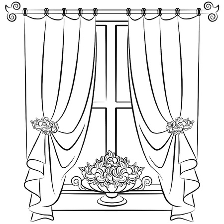 The vintage interior with curtain. Stock Vector - 10719240