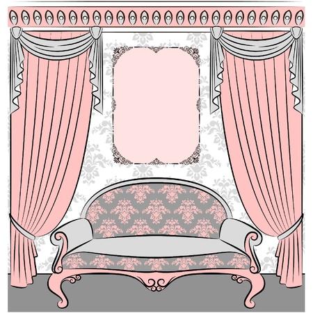 sofa in vintage interior Stock Vector - 10729654