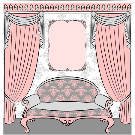 retro illustration: sofa in vintage interior