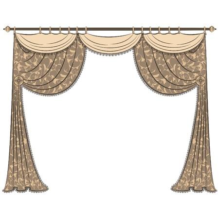 ornamentations: L'interno vintage con tenda. Vettoriali