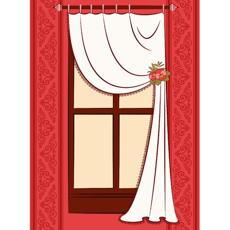 luxury condo: The vintage interior with curtain.