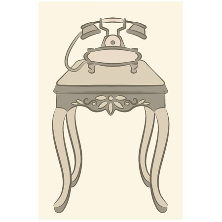 Vector table with telephone for vintage interior Vector
