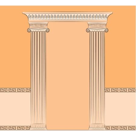The vintage greek interior with columns. Vector Vector