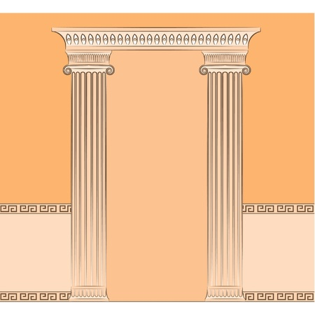 The vintage greek interior with columns. Vector