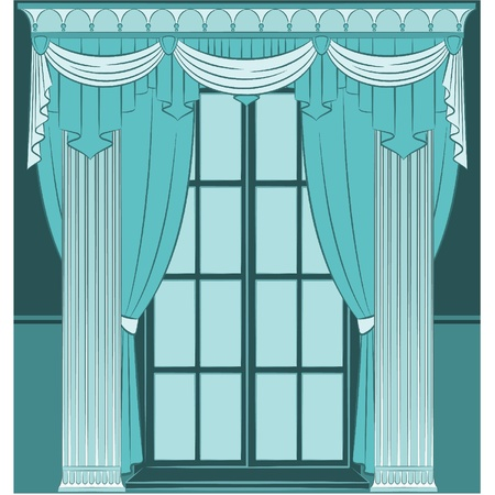 The vintage interior with curtain. Stock Vector - 10719236