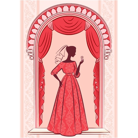 blind woman: Vintage curtain with silhouette of girl. Vector Illustration