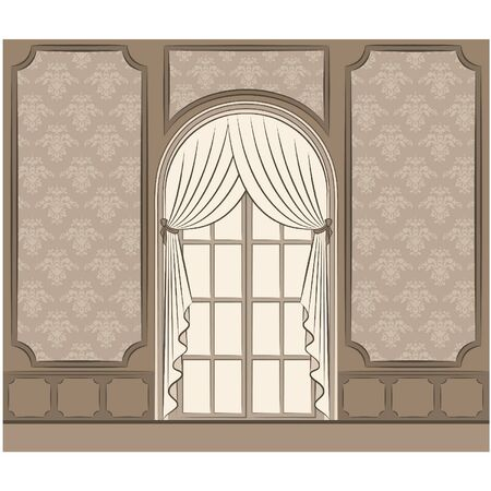 The vintage interior with curtain. Stock Vector - 10719242