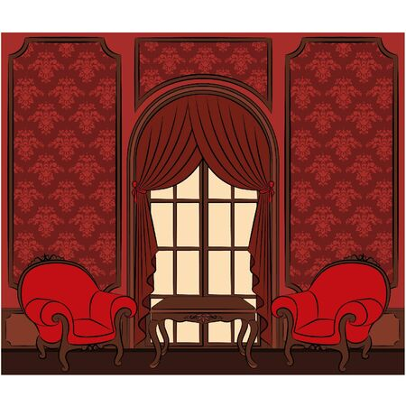 arm chairs: The vintage interior with curtain. Vector