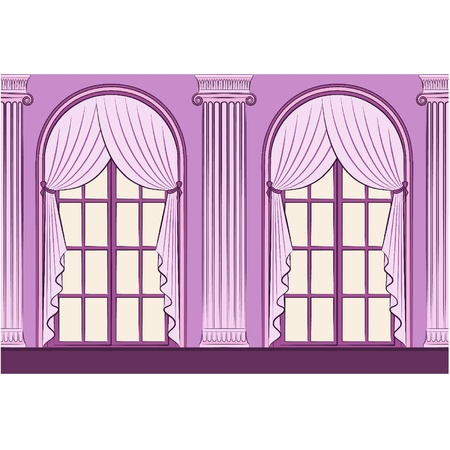 The vintage interior with curtain. Vector