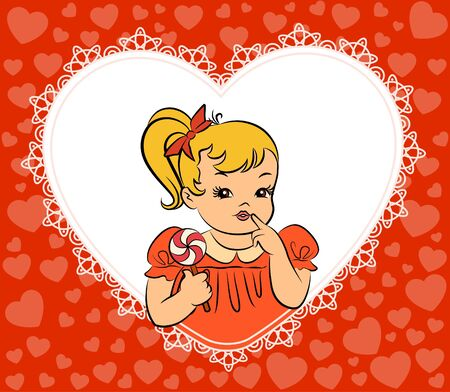 Vintage cartoon little girl with candy photo