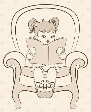 Vintage cartoon little girl with book Stock Photo - 11106821