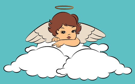 Beautiful baby angel with wings. photo