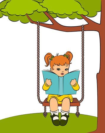 Vintage cartoon little girl with book photo