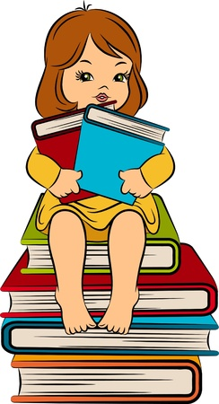 Vintage cartoon little girl with book Stock Photo - 11106828