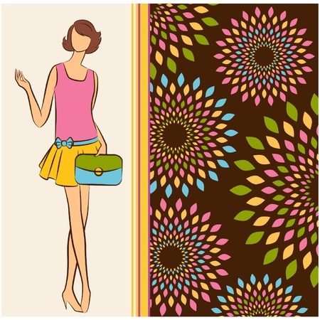 Vintage silhouette of girl on tapestry background. Stock Vector - 11110971