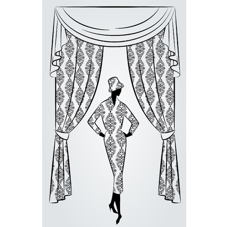 blind girl: Vintage curtain with silhouette of girls.
