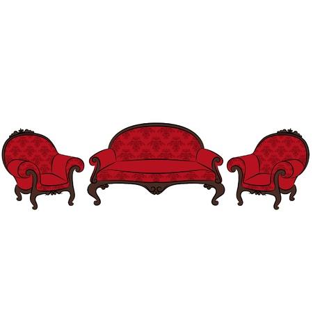 sofa set: sofa and arm-chair for vintage interior