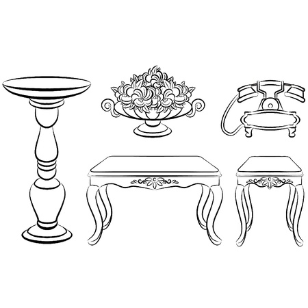 Table, telephone, vase with flowers for vintage interior Vector