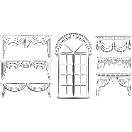 window curtains: The vintage curtain. Illustration
