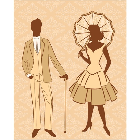 Vintage silhouette of girl with man. Stock Vector - 11106938